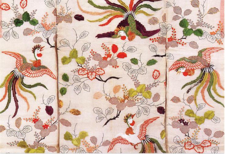 Японская вышивка шелком по шелку